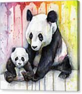 Panda Watercolor Mom And Baby Canvas Print