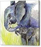 Mama Elephant And Calf Canvas Print