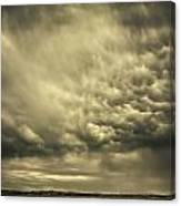 Mammatus Storm Clouds Above A Lake Canvas Print