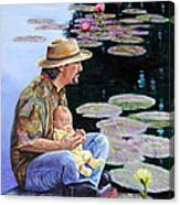 Man And Child In The Garden Canvas Print