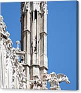Man And Dragon Gargoyles With Tower Duomo Di Milano Italia Canvas Print