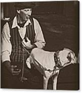Man And White Dog In New Orleans Canvas Print