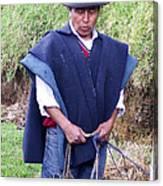 Man At Otavalo Animal Market Ecuador Canvas Print
