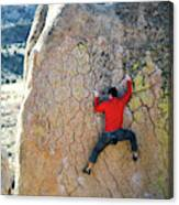 Man Bouldering On An Overhang Canvas Print