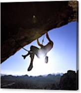 Man Climbing On An Overhang In Joshua Canvas Print