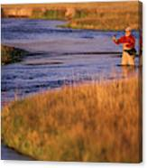 Man Fly Fishing On The Owens River Canvas Print