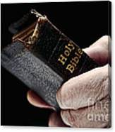Man Hands Holding Old Bible Canvas Print