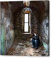 Man In Abandoned Building Canvas Print