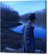 Man In Fedora By River Canvas Print