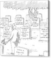 Man In Graveyard Looks At Tombstones Canvas Print