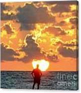 Man In Sunrise Canvas Print