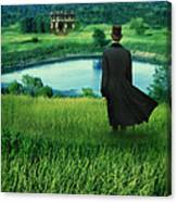 Man In Top Hat On A Hill Canvas Print