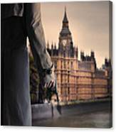 Man In Trenchcoat With A Gun In London Canvas Print