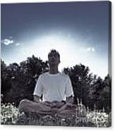 Man Meditating In The Nature During Sunrise Canvas Print