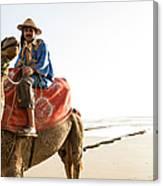 Man On Camel On Beach, Taghazout Canvas Print