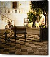Man On The Bench Canvas Print