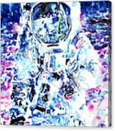 Man On The Moon - Watercolor Portrait Canvas Print