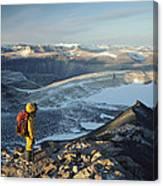 Man Overlooking Olympus Range Antarctica Canvas Print