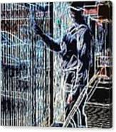 Man Painting Fence / Crayola Effect Canvas Print