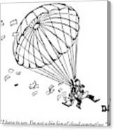 Man Parachuting While Working On His Laptop Canvas Print