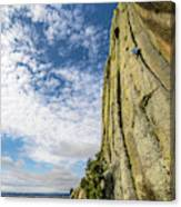 Man Rock Climbing At Devils Tower Canvas Print