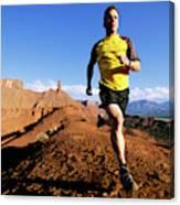 Man Running In Moab, Utah Canvas Print