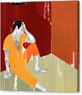 Man Sitting On Floor Of Jail Cell Canvas Print