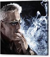 Man Smoking Cigarette Canvas Print