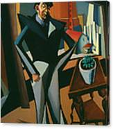 Man Standing At A Window Canvas Print