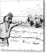 Man Standing On The Beach Screams As A Fleet Canvas Print
