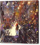 Man Standing On The Top Of Stair In The Canvas Print