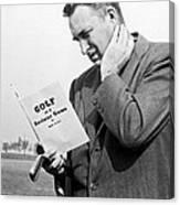 Man Studying A Golf Book Canvas Print