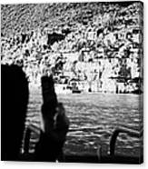 man taking photos with smartphone during boat ride along the colorado river in the grand canyon Ariz Canvas Print