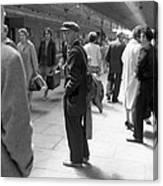 Man Waits In Heuston Station Dublin Canvas Print