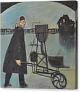 Man Walking Machine On Beach Canvas Print