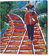 Man Walking On Rails Canvas Print