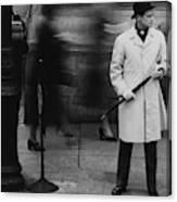 Man Wearing A Raincoat Canvas Print