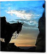 Man With His Horse Canvas Print