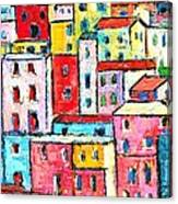 Manarola Colorful Houses Painting Detail Canvas Print