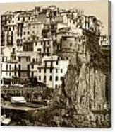 Manarola Italy Sepia Canvas Print