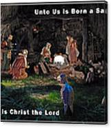 Manger Christmas Card Canvas Print