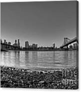 Manhattan And Brooklyn Bridge Fisheye Bw Canvas Print