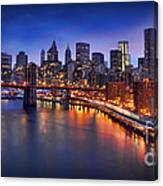 Manhattan At Dawn - Brooklyn Bridge Canvas Print