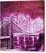 Manhattan At Night Enhanced Canvas Print