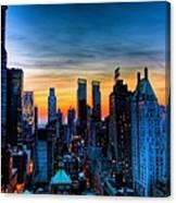 Manhattan At Sunset Canvas Print