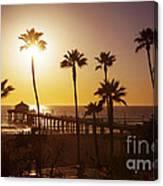 Manhattan Beach At Sunset Canvas Print