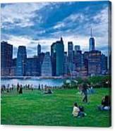 Manhattan Blue And Green Canvas Print