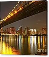 Manhattan Bridge By Night Canvas Print
