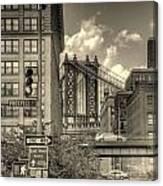 Manhattan Bridge Peeking Through Canvas Print