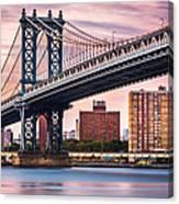 Manhattan Bridge Under A Purple Sunset Canvas Print